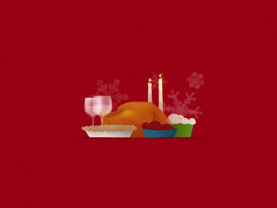Holiday Dinner turkey christmas candles illustration