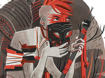 Masked illustration line work mask comic mohawk tribal