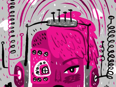 music maker illustration music mohawk headphones magazine color test