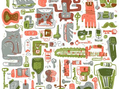 Keys to King City king city image comics illustration comic cat sandwich object portrait chainsaw locks key