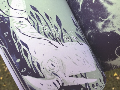 Ferocious Quarterly No. 4:  DEEP anthology illustration two color whale wishbow