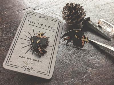 Creepy Corvid Crow Enamel Pin product bone lapel pin enamel magic corvid crow illustration wishbow