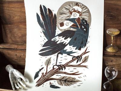 Magpie  - Three Color Screenprint