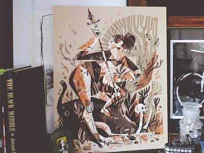 Boar Spear print illustration wishbow