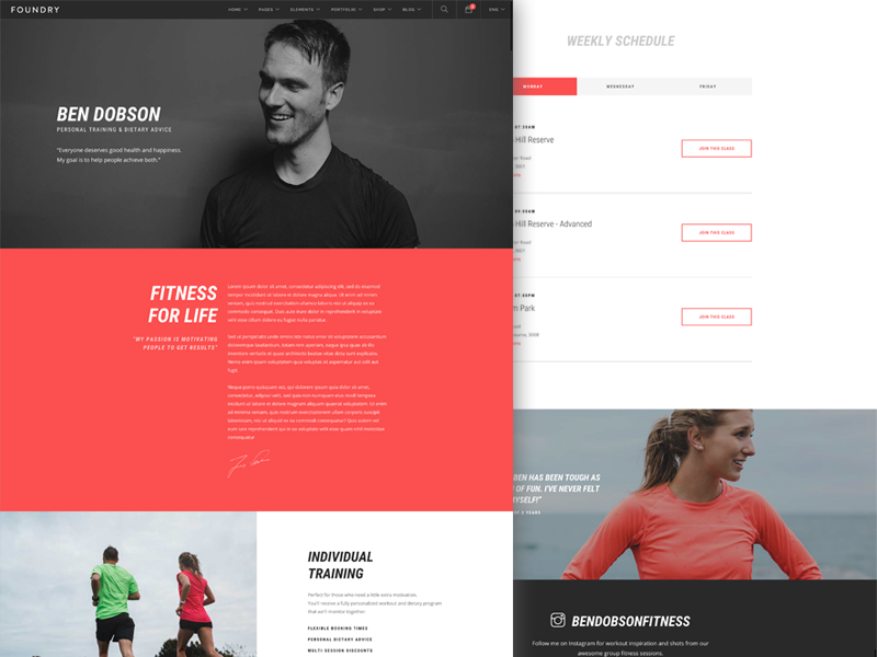 Foundry - Fitness Trainer Layout envato themeforest active sport yoga crossfit training personal trainer template website fitness