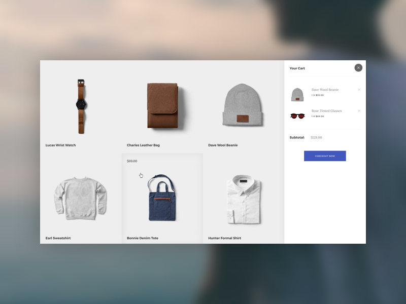 Sidebar Cart - Upcoming Template rebound shopping sidebar ecommerce template card product