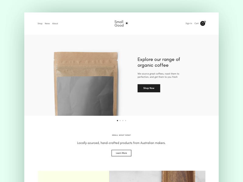 Clean E-commerce Layout template theme store ecommerce clean minimal homeware coffee shop