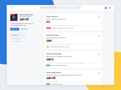 Team Projects Dashboard