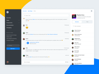 Project Management - Chat Layout slack discuss users sidebar project management collaboration team discussion chat
