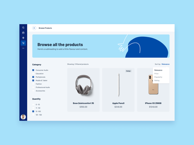 Product Dashboard web interface ui e-commerce products admin dashboard