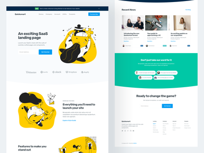 Quicksmart - SaaS Landing Page Template agency illustration theme product software landing saas template webflow ui kit