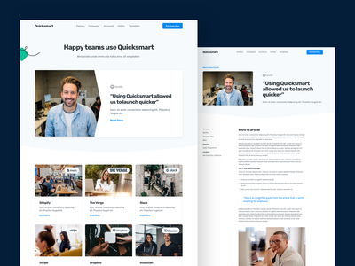 Quicksmart - SaaS Landing Page Template saas case study webflow ui web interface theme website template