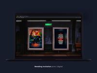 The wedding website graphic design clean app typogaphy art design urban neon wedding animation web ui