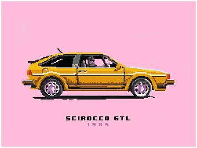 My scirocco from 1985 car web ui flatdesign minimal 8 bit design illustration pixel art