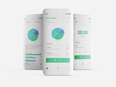 Time Tracker App UI Design minimal app typography ui ux design flat