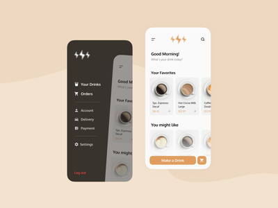 Coffee Shop App UI vector website app icon web ux ui minimal flat design