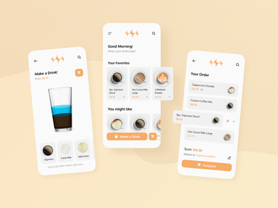 Coffee Shop App UI experience interface user application web branding shop icon app ux ui minimal flat design
