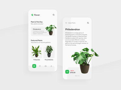 Gardening Store App UI fresh green mobile application design interface experience user app ux ui minimal flat