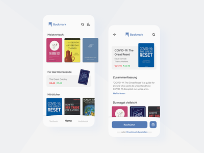 Bookmark e-Book and Audiobook Store application mobile user interface experience ux ui flat minimal shop design store app
