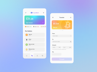 Crypto Bank — App Concept ethereum ether bitcoin finance bank cryptocurrency exchange currency crypto interface experience user application web app ux ui minimal flat design