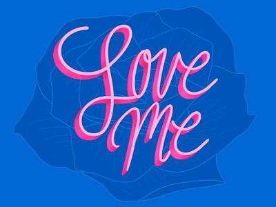 Love Me procreate lettering illustration