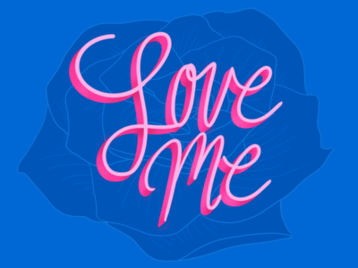 Love Me procreate lettering illustration