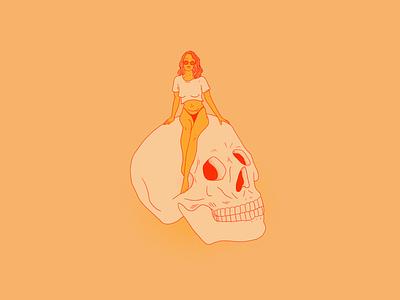 Chill color illustration skull portrait woman