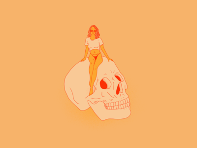 Chill color illustration skull portrait woman