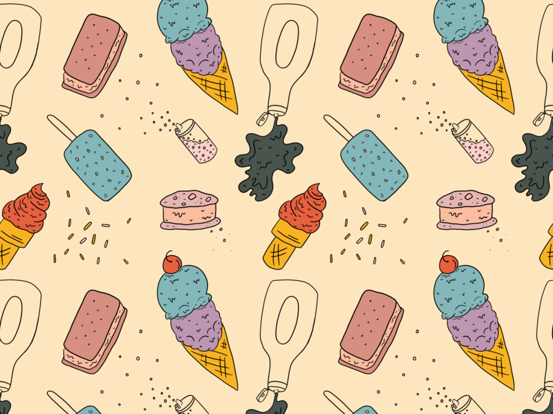 Ice Cream Pattern food sweets chocolate syrup chocolate chocolate chip jimmies sprinkles illustration ice cream sandwich dessert ice cream cone ice cream