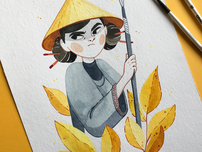 The Guardian yellow brush fighter adventure travel girls sketchbook watercolor painting traditional painting design traditional art watercolor portait bookillustration illustration freelance illustrator characterdesign character art character