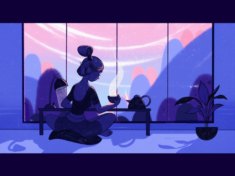 Sunday / Illustration illustrator workplace meditation moody studio landscape japan mood interior bookillustration procreate girls digitalart illustration freelance illustrator characterdesign character art character