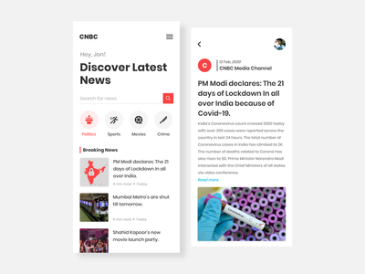 NewsFeed / Blog UI Concept hierarchy proximity poppins red read more search category breaking news channel news app lockdown coronavirus trending design clean concept adobe xd newsfeed blog