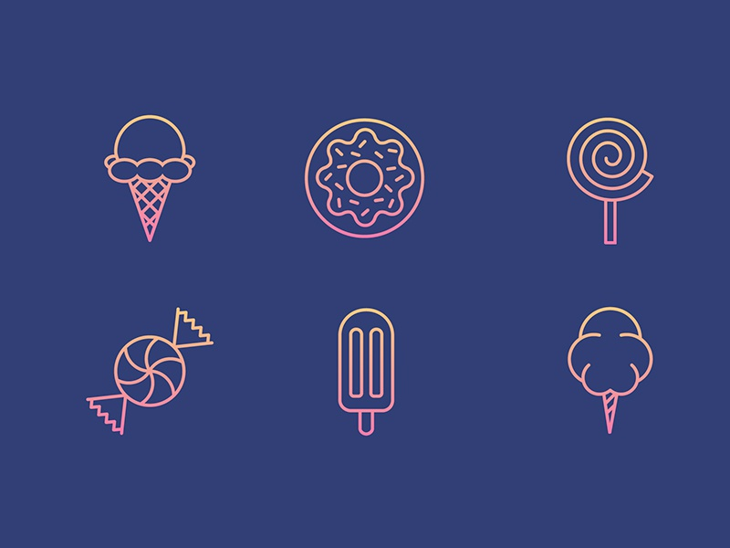 Sweet Icon Set Pt. 1 donut cotton candy ice cream candy sweets sugar icons icon