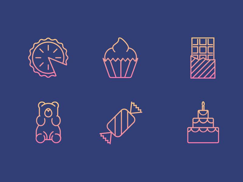 Sweet Icon Set Pt. 2 sweets sugar icons icon candy bar chocolate birthday cake birthday gummy bear cake cupcake pie