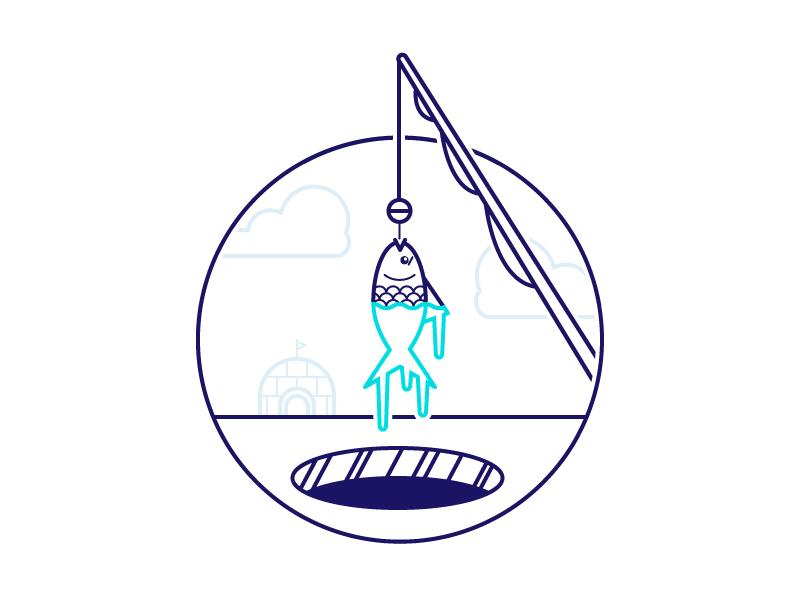 Ice Fishing illustration weeklyillochallenge fishing pole ice fishing igloo ice fishing fish