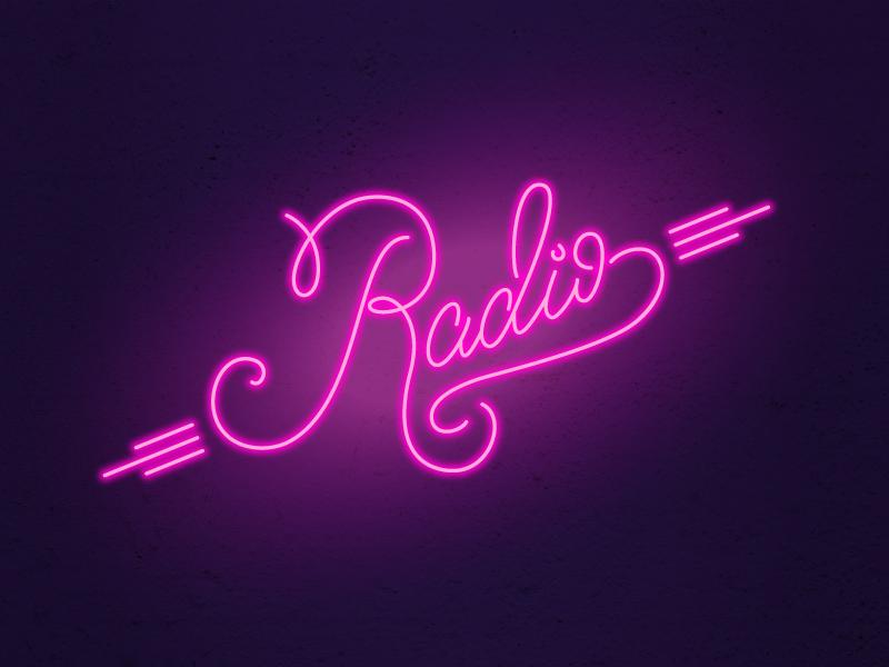 Neon Lettering radio neon sign neon hand lettering lettering weeklyillochallenge