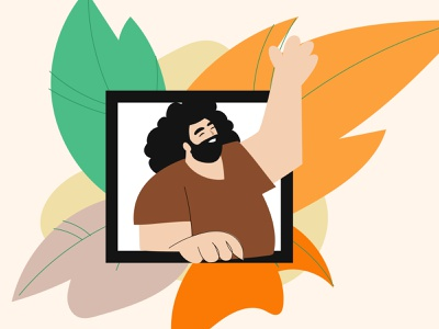 Welcome page leaf friendly smile help portrait vector illustration vector uiux ux ui waving man illustration illustrator webdesign website welcome webpage welcome hi hello