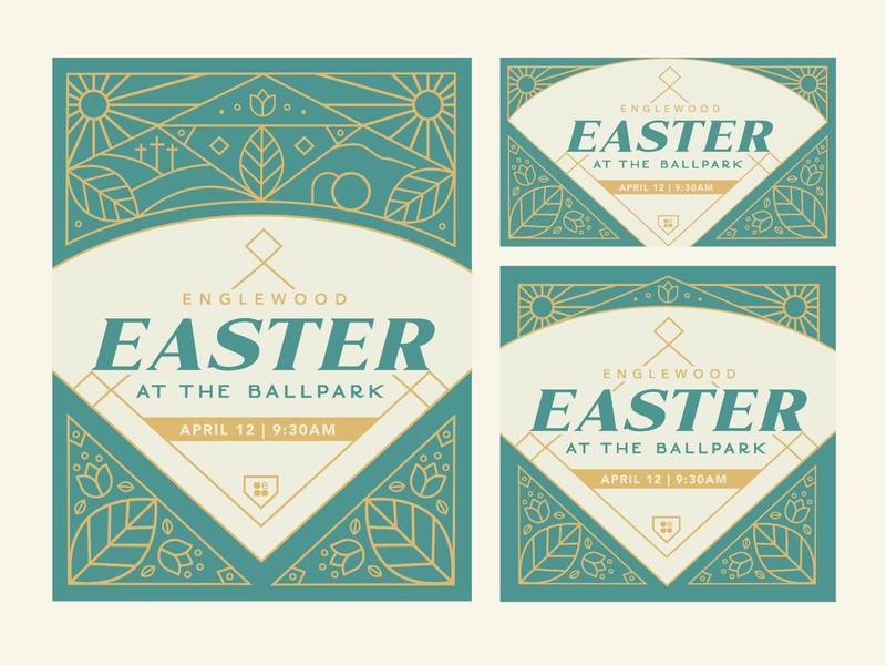 Easter at the Ballpark elegant line art social media design church marketing church branding church design poster design poster event flyer event branding vector illustration branding illustration art typography vector design illustration
