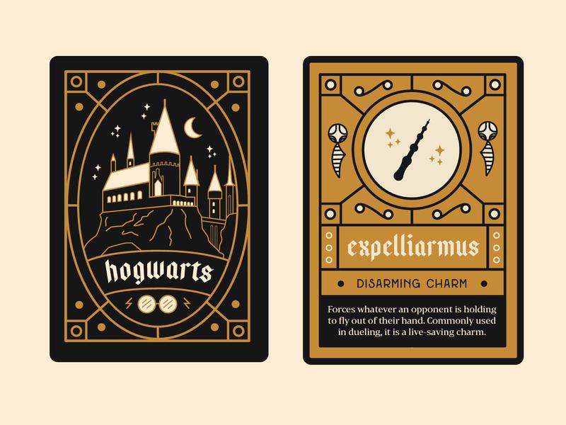 Harry Potter Charm Cards print design vector illustration illustration design card design playing cards lineart vector typography illustration art illustration