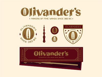 Olivander's Wands Logo brand identity branding design vector illustration illustration illustration art brand design logo branding vector typography