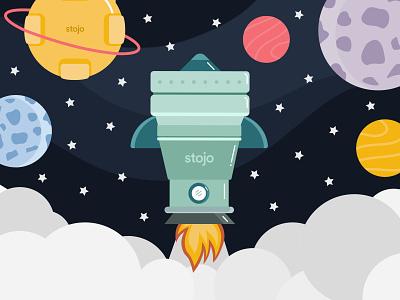 Stojo Reusable Containers Rocketship Illustration advertisement spaceship vectorart illustration design social media vector illustration illustration art vector illustration