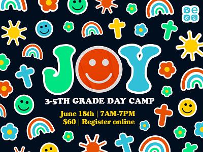 Joy Day Camp Event Branding kids camp church marketing church branding event branding logotype logodesign brand design illustration design logo brand identity branding vector illustration vector