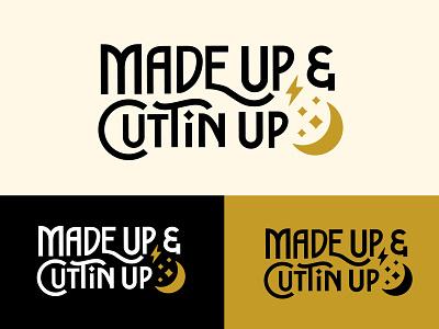 Made Up and Cuttin' Up Brand Logo salon logo moon logo celestial vector illustration logodesign branding design brand identity brand design logo branding typography