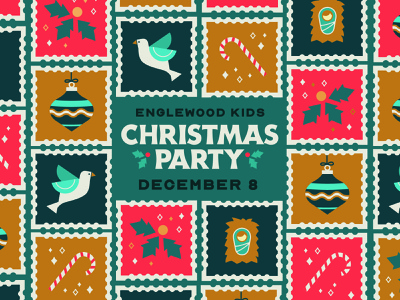 Englewood Kids Christmas Party Stamp Illustration illustration typography vector illustration invitation holiday card stamp design holiday christmas vector illustration art vector art holiday design christmas 2021