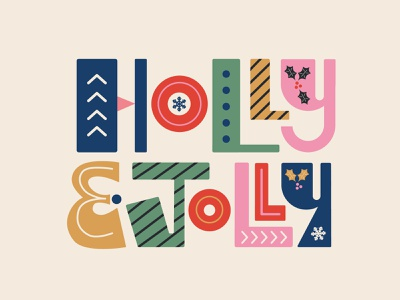 Holly & Jolly Type Illustration vector illustration christmas card holiday card holiday design illustrations illustrator christmas letters lettering type typography illustration art vector design illustration