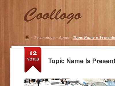 Wood Coollogo ! wood brown ribbon red
