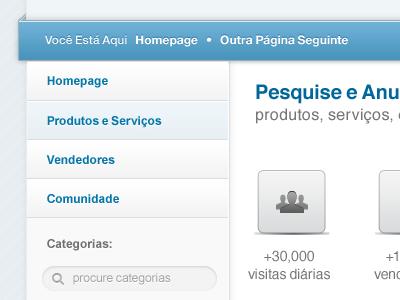 Rua Direita Makeover makeover revamp blue grey web design layout web vertical menu search