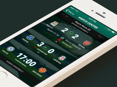 Premier League Match Centre football soccer match score premier league ios7 iphone