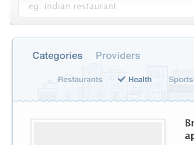 Category & Providers Selection category categories providers blue grey deals aggregator