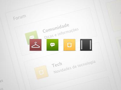Rua Direita Quick Icons  icons cinema icon fashion icon tech icon community icon red green yellow black
